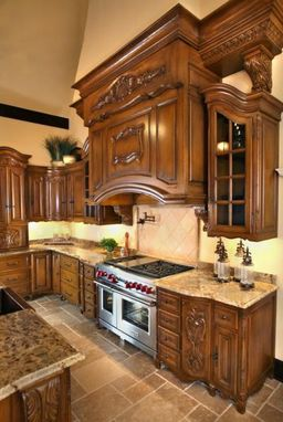 Custom Made Custom Hand Carved Kitchen Cabinetry