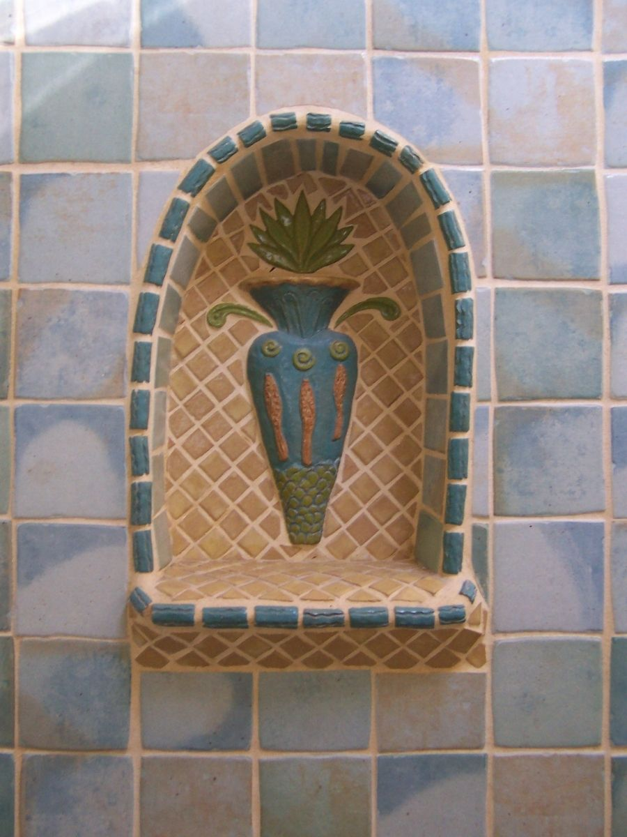 Hand Crafted Bathroom Niche Ceramic Tile Mosaic Accents Interior