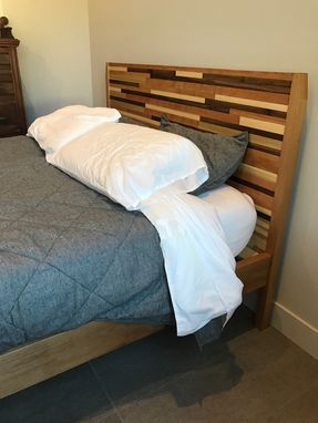 Custom Made Mid-Century Modern Platform Bed Frame And Headboard