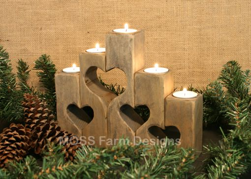 Custom Made Rustic Heart Linked Family Candle Holders, Wedding Gift, Anniversary, Housewarming,  Home Decor