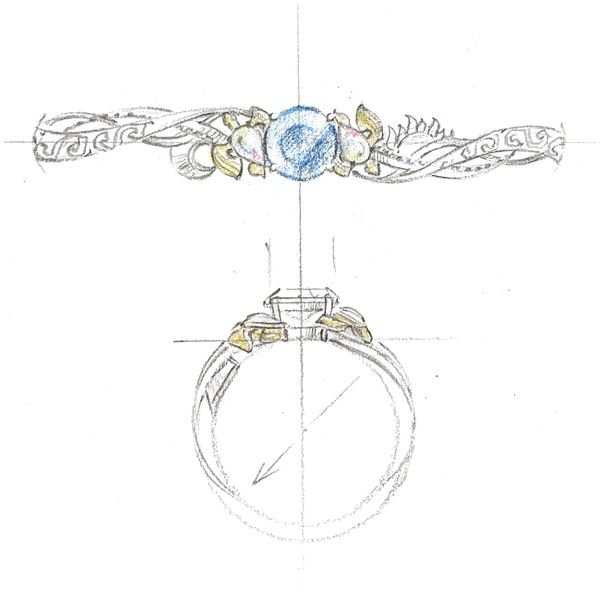 Design sketch for a turtle-inspired ring with a sapphire center stone and white opal side stones.