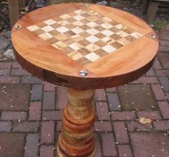 Custom Made Wood Chess Table For Two