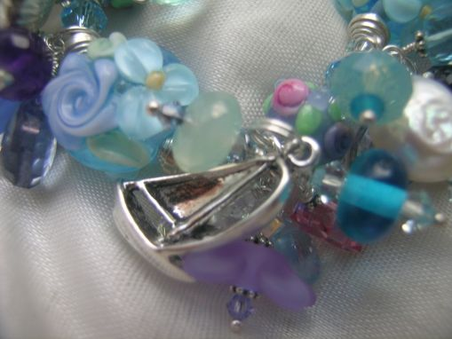 Custom Made Periwinkle Lightship Basket Lampwork Set