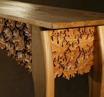 Hand Crafted Carved Oak Leaf Table By Pat Morrow Trail Mix