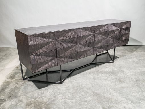 Custom Made Credenza Modern Gray Wood, Steel Base, Curly Maple, Sideboard, Buffet, Server, Dining Room Storage