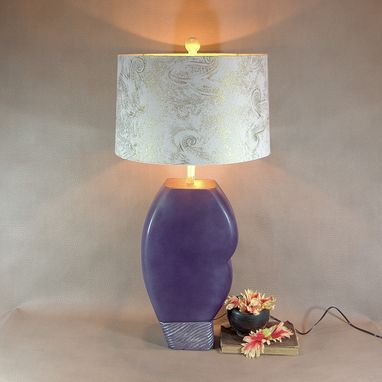 Custom Made Mod Upcycled Lamp- Statement Lamp- Purple And Silver- One Of A Kind Lamp