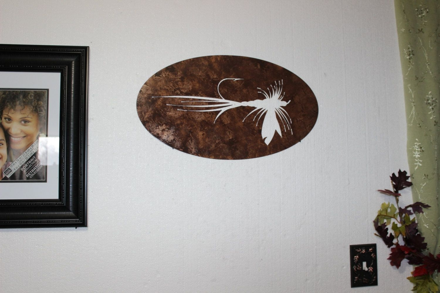 Hand Made Fly Fishing Bait Metal Wall Sign Home Decor By