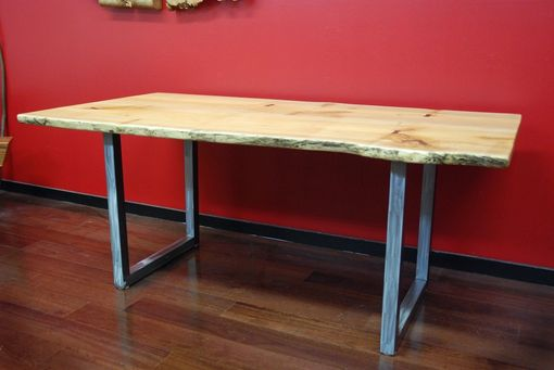 Custom Made Natural Edge Salvaged Maple Slab Dining Table With Butterfly Joints