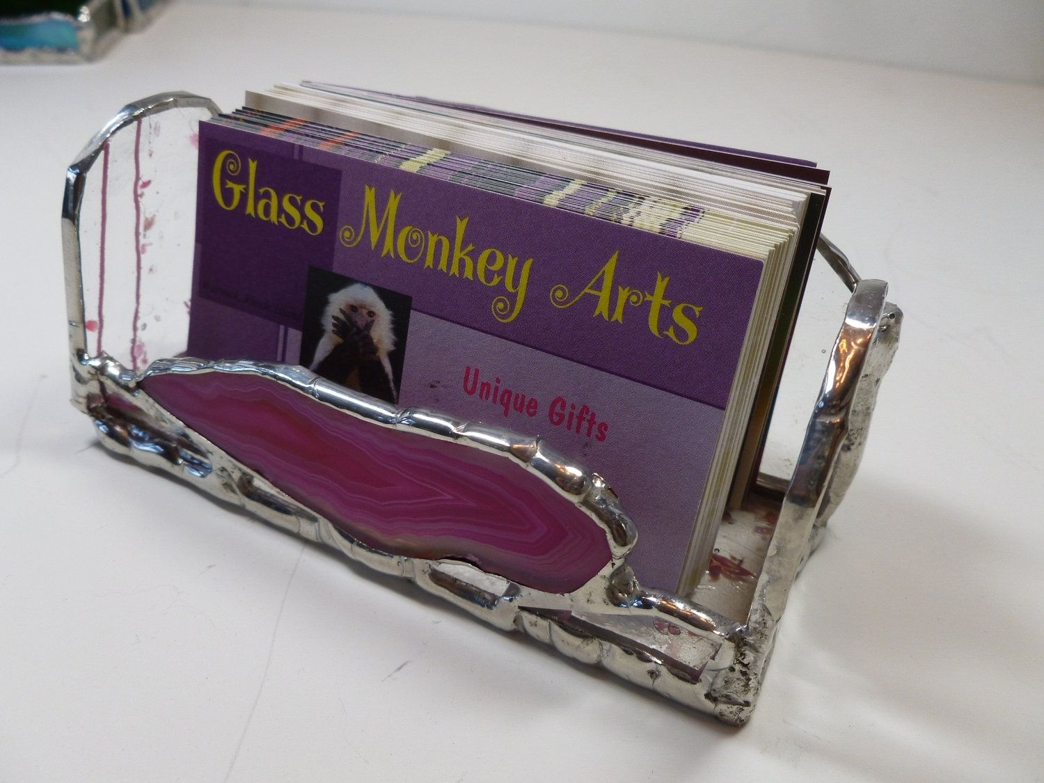 Hand Crafted Stained Glass Business Card Holder With Pink Brazilian ...