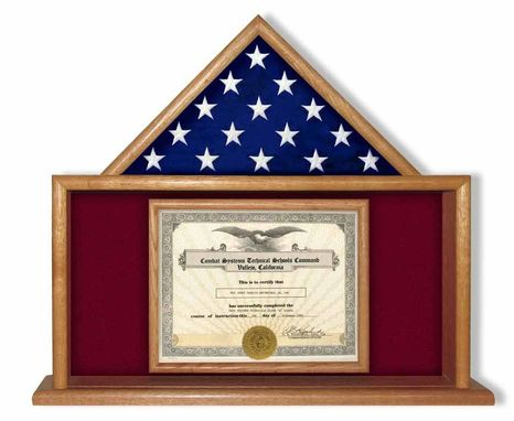 Custom Made Army Flag And Certificate Display Case