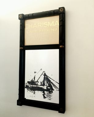 Custom Made Tarnished Mirror With Boat Silhouette From Photo