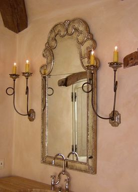Custom Made Silver Leaf Double Sconce