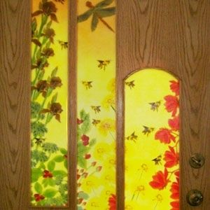Custom Made Custom Made Fused Glass And Oak Entrance Door