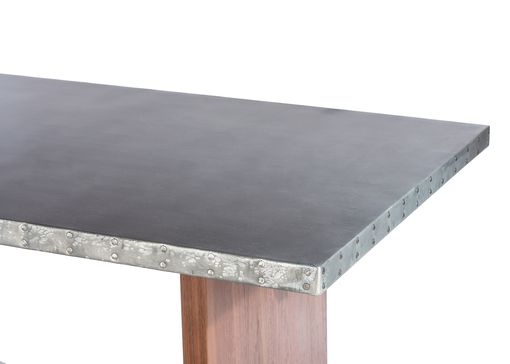 Custom Made Zinc Table  Zinc Dining Table - The Sonoma Zinc Top Dining Table - Solid Walnut Base