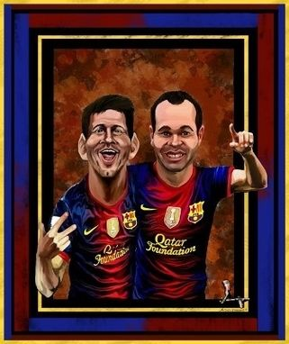 Custom Made Custom Caricatures. Leo Messi And Andres Iniesta