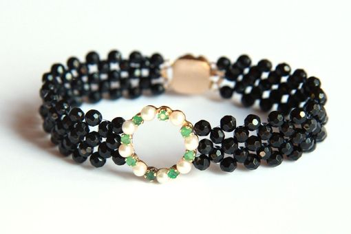 Custom Made Hand Woven Sparkling Circle Bracelet With Black Onyx, Emeralds And Pearls