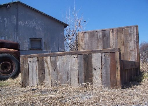 Custom Made Weathered Grey Reclaimed Barn Wood Bed Frame