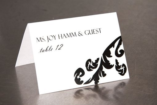 Custom Made Wedding Place Cards - Damask Leaf - Escort Cards Favor Tag Custom Designed