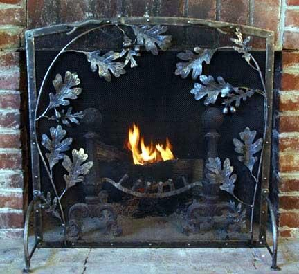 Hand Made Metal Arch Top Oak Leaf Fireplace Screen by ...