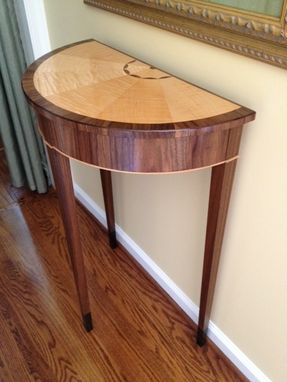Custom Made Walnut And Tiger Maple Demilune Table
