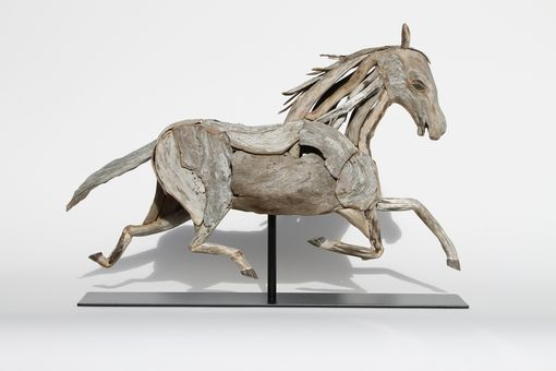 Custom Made Driftwood Running Horse Sculpture