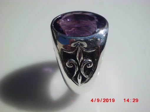Custom Made Amethyst Ring W/ Fluer De Lis Shields
