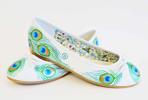 Custom Made Peacock Flats- Wedding Flats- Hand Painted Shoes