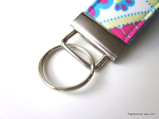 Custom Made Handmade Vegan Key Ring, Key Fob Or Key Holder Fresh Floral Color