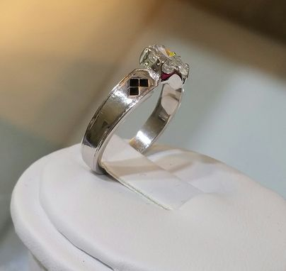 Custom Made Batman Marquise Cut Engagement Ring 14 Kt. White Gold