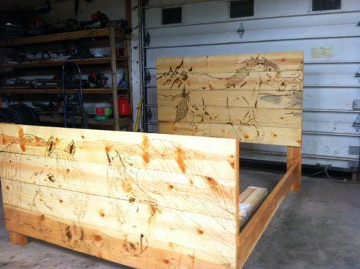 custom wood burned bed frame - Wood Burning Picture Frame