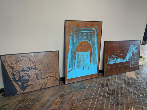 Custom Made Large Format Silkscreen On Rusted Corten Steel