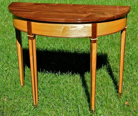 Custom Made Demilune Hall / End Table Of Ash And Black Walnut