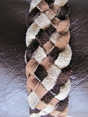 Custom Made Brown Leather Dog Clothes With Genuine Rabbit Collar & Braided Belt