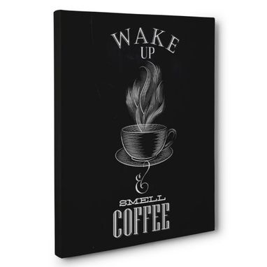 Custom Made Wake Up And Smell The Coffee Kitchen Canvas Wall Art