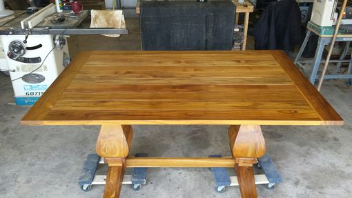 Custom Made Solid Teak Outdoor Pedestal Table