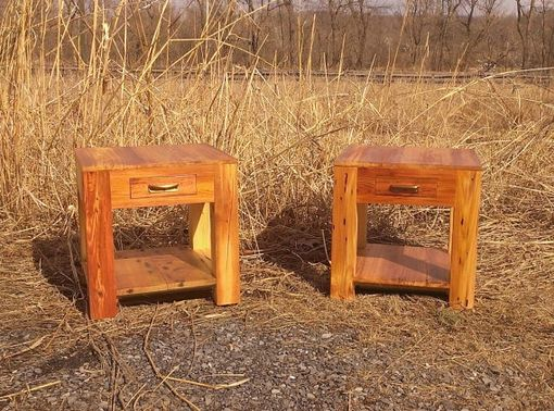 Custom Made Heart Pine Parsons Style End Tables With Drawer, Shelf And Vintage Pulls