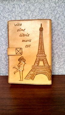 Custom Made Leather Travel Journal With Eiffel Tower And Lilies