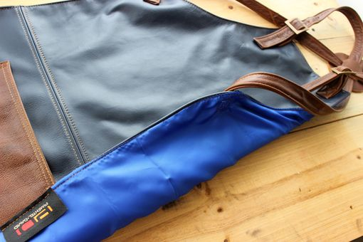 Custom Made 2p2pdw Leather Apron Deep Dark Blue & Brown Straps And Pockets - Custom-Made Name Initials