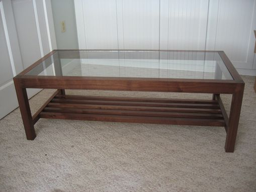 Custom Made Glass Top Walnut Coffee Table