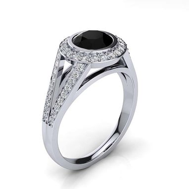 Custom Made Halo White & Black Diamond Engagement Ring