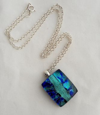 Custom Made Fused Glass Pendant With Sterling Silver Bail And Chain - Blue Hawaii