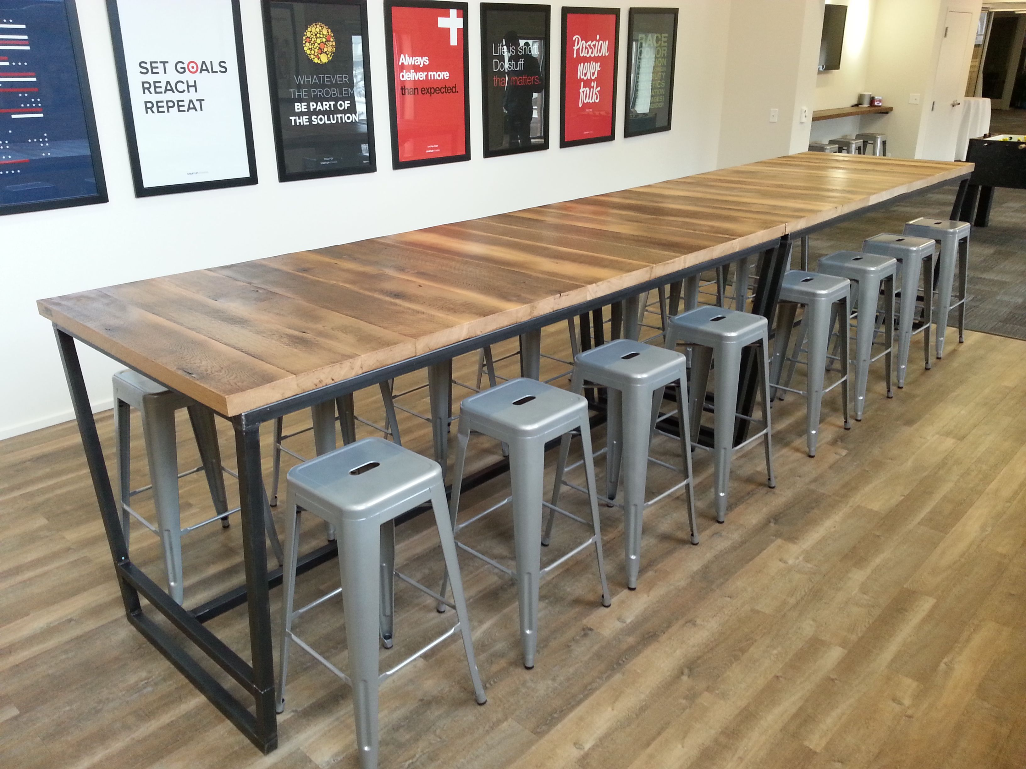 Custom Made Reclaimed Wood And Steel High Top Conference Table