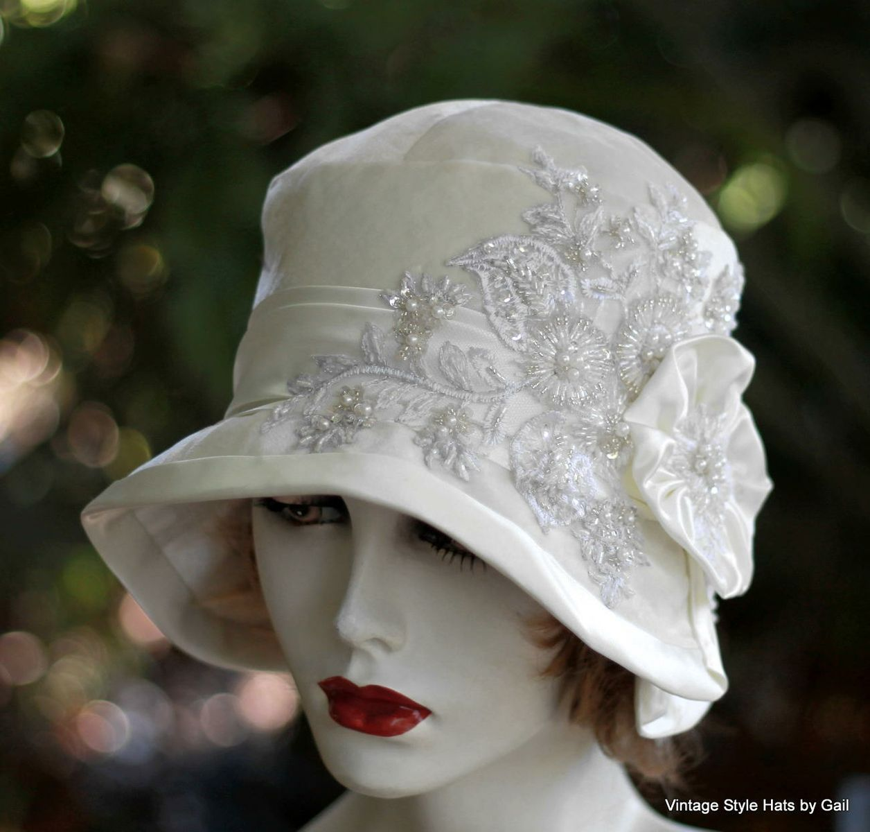 c9022fe3869bc Buy Hand Made 1920s Great Gatsby Wedding Party Cloche Hat In White Velvet Lace  Pearls And Sequins