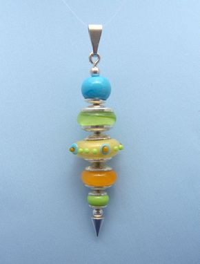 Custom Made Whimsical Pendant Of Yellow, Turquoise, Pea Green And Mango