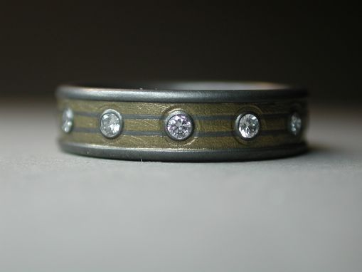Custom Made Titanium Ring With Diamonds And 24k Gold