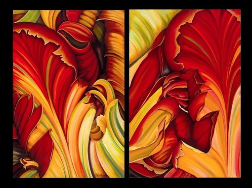 Custom Made Floral Diptych Painting