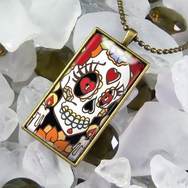 Custom Made Day Of The Dead Sugar Skull Antique Bronze Necklace 372-Brcn