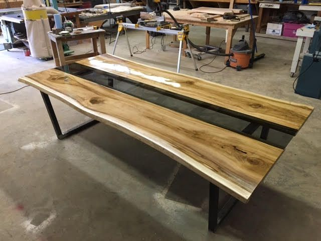 Buy A Hand Crafted Live Edge Poplar Slab Table With Smokey
