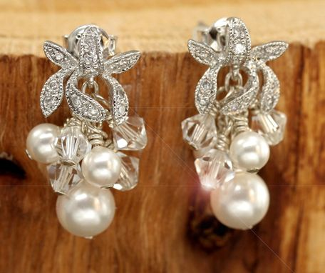 Custom Made Small Orchid Crystal & Pearl Cluster Earrings