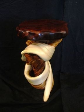 Custom Made Curly Redwood Display Table With Twisted Juniper Log Base